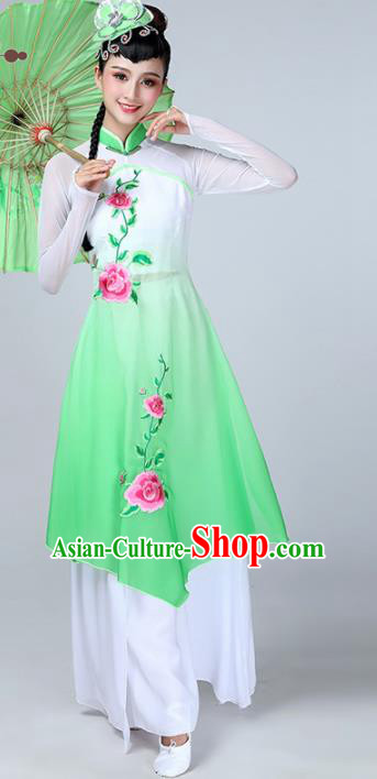 Chinese Traditional Stage Performance Classical Dance Costume Umbrella Dance Green Dress for Women