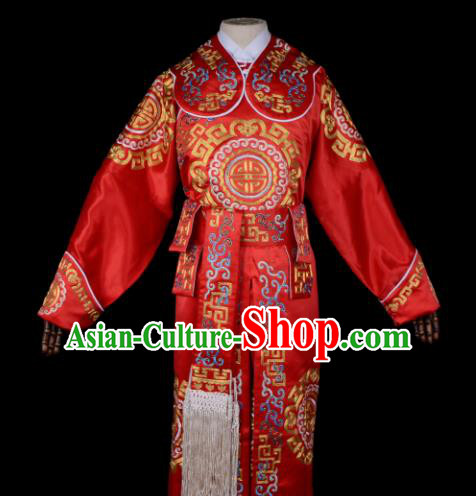 Professional Chinese Beijing Opera Takefu Costume Ancient Swordsmen Red Clothing for Adults