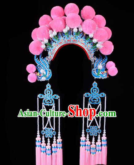 Chinese Beijing Opera Imperial Consort Hair Accessories Ancient Palace Pink Phoenix Coronet for Women
