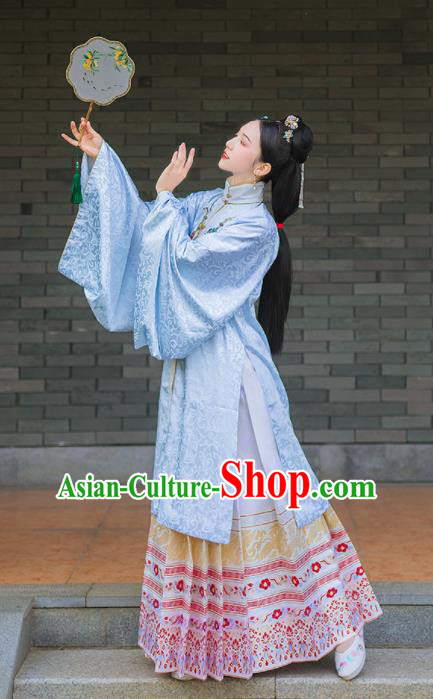 Chinese Traditional Ming Dynasty Historical Costume Ancient Palace Princess Blouse and Horse Face Skirt Complete Set