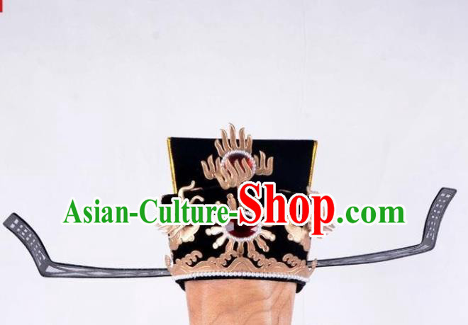 Chinese Beijing Opera Prime Minister Hair Accessories Ancient Chancellor Black Hat for Men