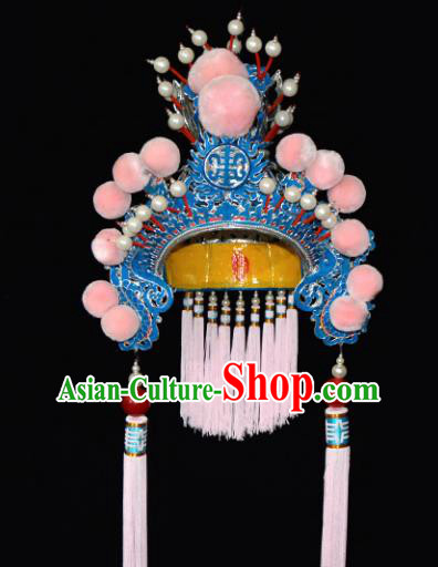 Chinese Beijing Opera Blues Hair Accessories Ancient Female General Pink Phoenix Coronet for Women