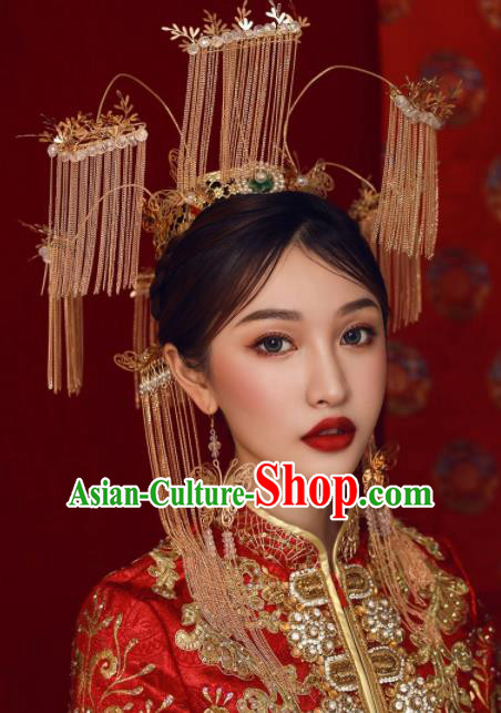 Top Grade Chinese Ancient Bride Hairpins Tassel Phoenix Coronet Traditional Hair Accessories Headdress for Women
