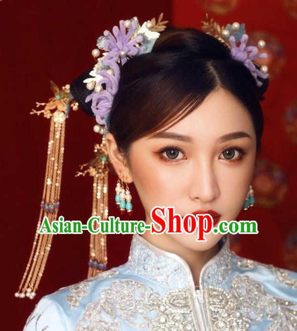 Top Grade Chinese Ancient Bride Hairpins Hair Combs Traditional Hair Accessories Headdress for Women