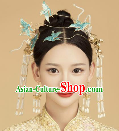 Top Grade Chinese Ancient Bride Hairpins Cranes Hair Clasp Traditional Hair Accessories Headdress for Women