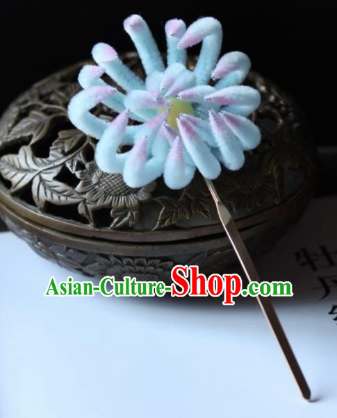 Top Grade Chinese Ancient Palace Light Blue Velvet Chrysanthemum Hairpins Traditional Hair Accessories Headdress for Women