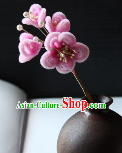 Top Grade Chinese Ancient Palace Pink Velvet Plum Blossom Hairpins Traditional Hair Accessories Headdress for Women