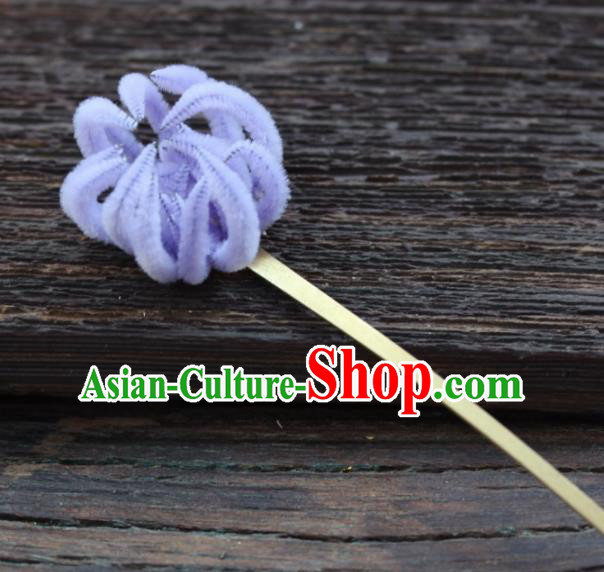 Top Grade Chinese Ancient Palace Queen Lilac Velvet Chrysanthemum Hairpins Traditional Hair Accessories Headdress for Women