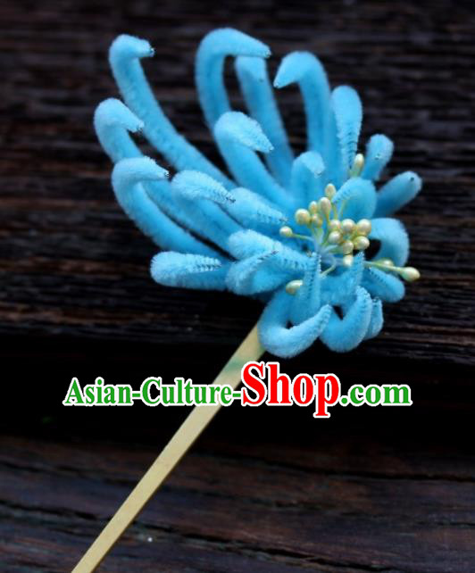 Top Grade Chinese Ancient Palace Queen Blue Velvet Chrysanthemum Hairpins Traditional Hair Accessories Headdress for Women
