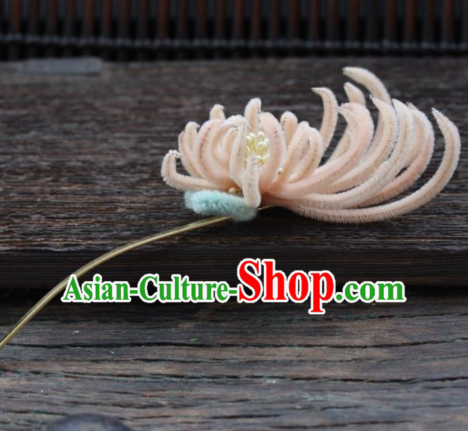 Top Grade Chinese Ancient Palace Queen Pink Velvet Chrysanthemum Hairpins Traditional Hair Accessories Headdress for Women