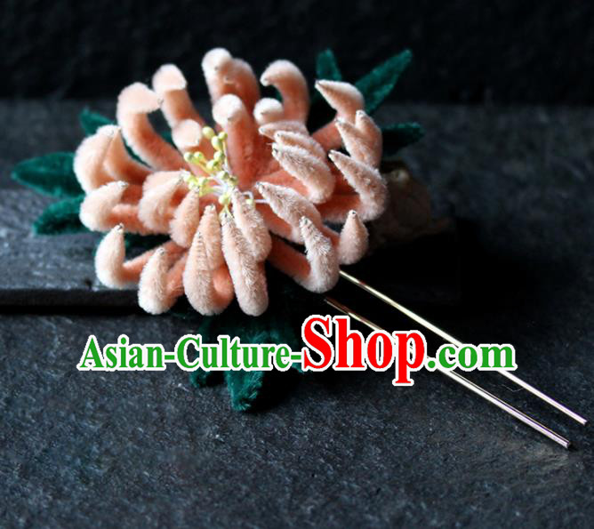 Chinese Ancient Palace Orange Chrysanthemum Hairpins Traditional Wedding Hair Accessories for Women