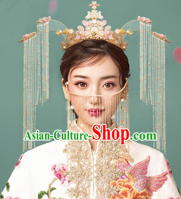 Chinese Ancient Palace Tassel Pink Flowers Phoenix Coronet Hairpins Traditional Wedding Hair Accessories for Women