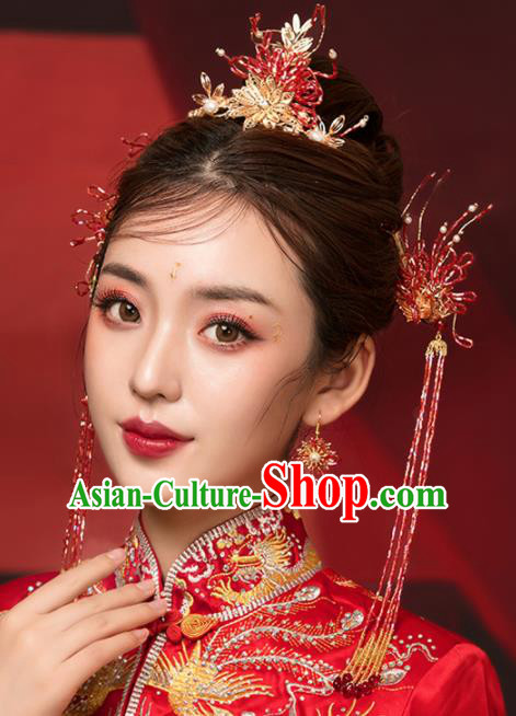 Chinese Ancient Palace Red Beads Phoenix Coronet Hairpins Traditional Wedding Hair Accessories for Women
