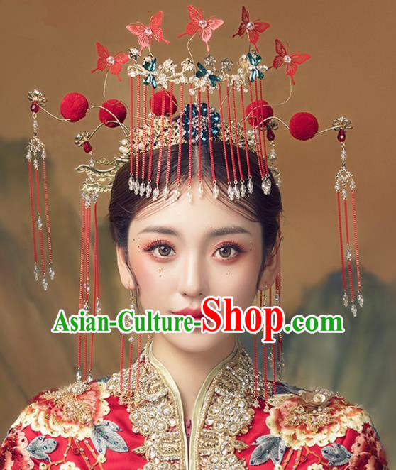 Chinese Ancient Palace Red Butterfly Tassel Phoenix Coronet Hairpins Traditional Wedding Hair Accessories for Women