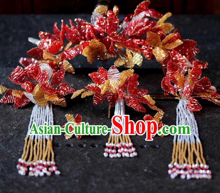 Chinese Ancient Palace Red Beads Leaf Phoenix Coronet Hairpins Traditional Wedding Hair Accessories for Women