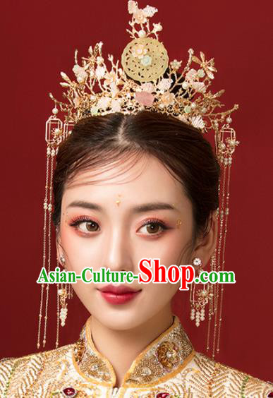 Chinese Ancient Palace Jade Phoenix Coronet Hairpins Traditional Wedding Hair Accessories for Women