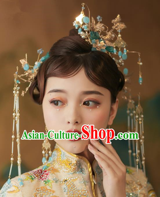 Chinese Ancient Palace Blue Flowers Phoenix Coronet Tassel Hairpins Traditional Wedding Hair Accessories for Women