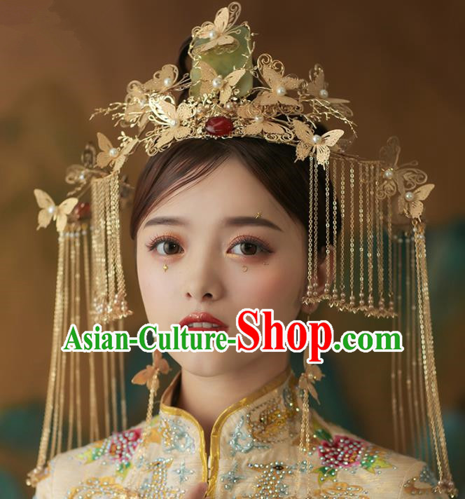 Chinese Ancient Palace Bride Jade Butterfly Phoenix Coronet Tassel Hairpins Traditional Wedding Hair Accessories for Women