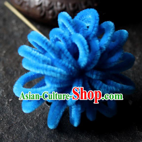 Chinese Traditional Palace Royalblue Velvet Flower Hairpins Ancient Wedding Hair Accessories for Women