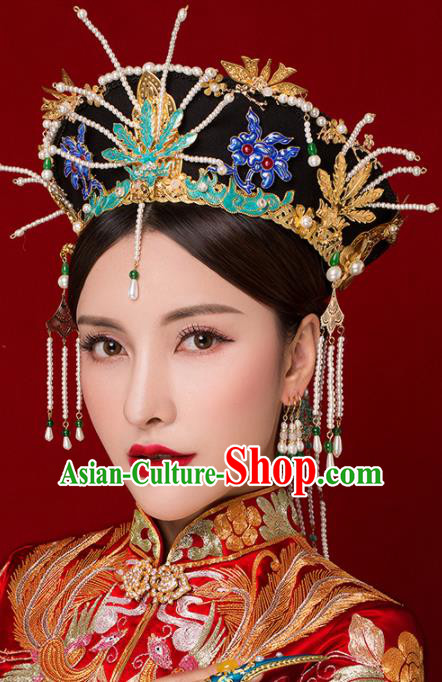 Chinese Traditional Palace Queen Phoenix Coronet Hairpins Ancient Hair Accessories Headdress for Women