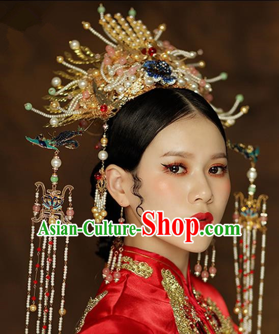Chinese Ancient Palace Queen Blueing Phoenix Coronet Hairpins Traditional Hair Accessories Headdress for Women