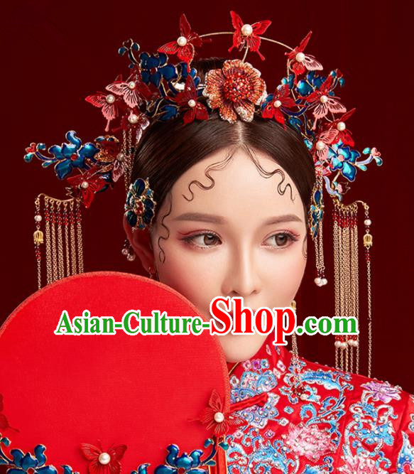 Chinese Traditional Palace Phoenix Coronet Hairpins Ancient Wedding Red Butterfly Hair Accessories for Women