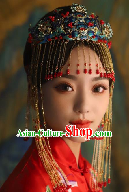 Chinese Ancient Palace Phoenix Coronet Blueing Lotus Hairpins Traditional Hair Accessories Headdress for Women