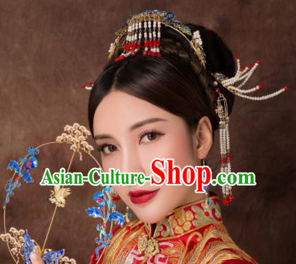 Chinese Ancient Palace Beads Phoenix Hairpins Traditional Hair Accessories Headdress for Women