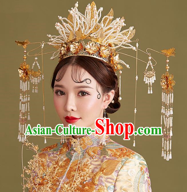 Chinese Traditional Palace Bride Hairpins Ancient Wedding Beads Phoenix Coronet Hair Accessories for Women
