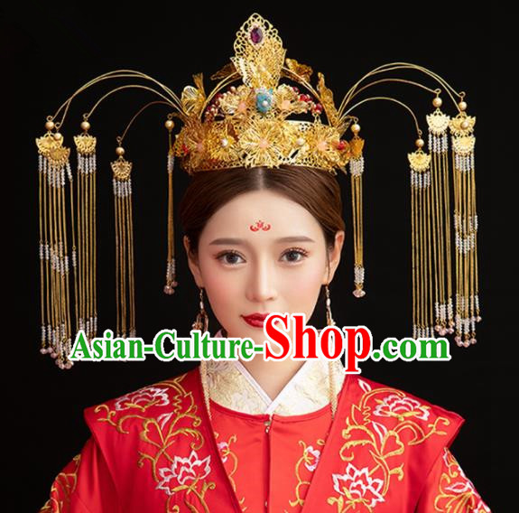 Chinese Ancient Palace Queen Phoenix Coronet Hairpins Traditional Hair Accessories Headdress for Women