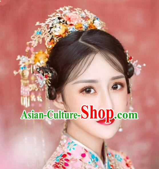 Chinese Ancient Bride Phoenix Coronet Hairpins Traditional Hair Accessories Headdress for Women