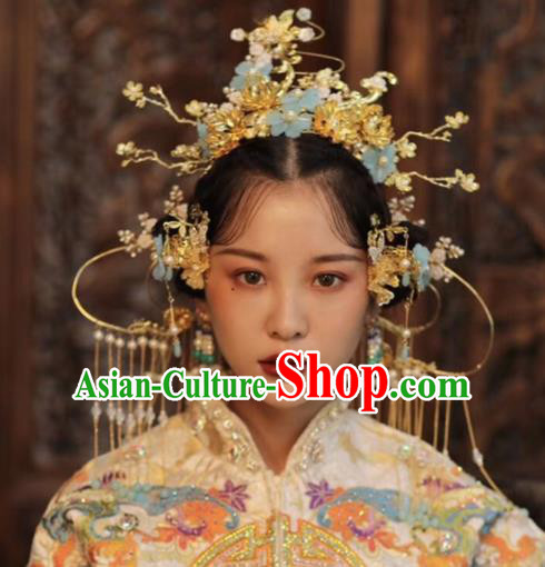 Chinese Ancient Bride Hairpins Blue Flowers Phoenix Coronet Traditional Hair Accessories Headdress for Women