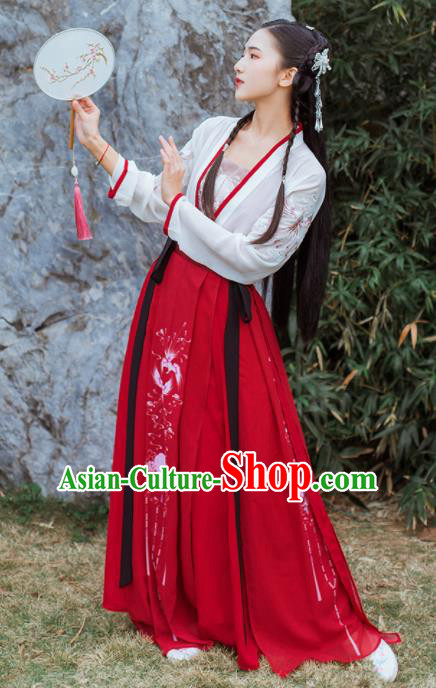Chinese Traditional Tang Dynasty Historical Costume Ancient Young Lady Hanfu Dress for Women