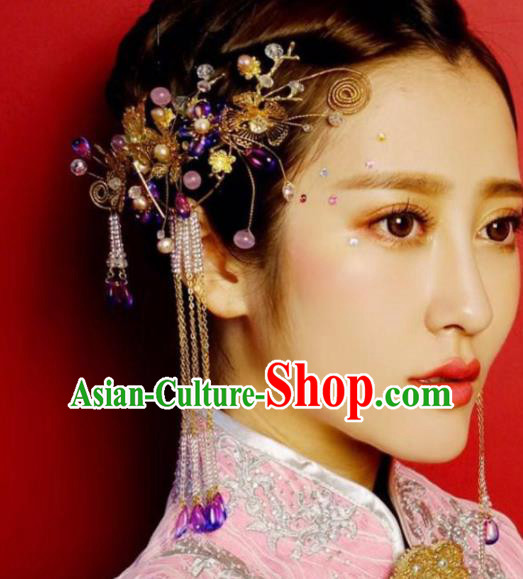 Top Grade Chinese Ancient Bride Wedding Hairpins Tassel Step Shake Traditional Hair Accessories Headdress for Women