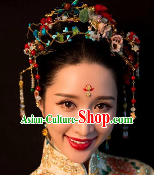 Top Grade Chinese Ancient Bride Wedding Flowers Hair Crown Hairpins Traditional Hair Accessories Headdress for Women