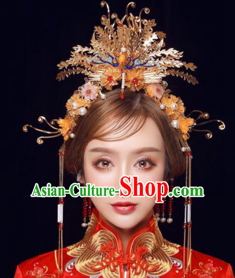 Top Grade Chinese Ancient Bride Wedding Golden Phoenix Coronet Traditional Hair Accessories Headdress for Women