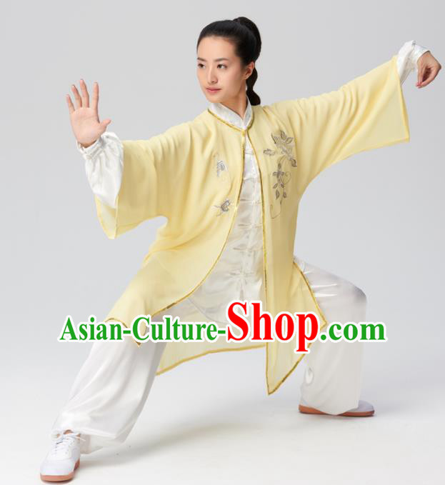 Chinese Traditional Kung Fu Tai Chi Costume Martial Arts Competition Embroidered Yellow Clothing for Women