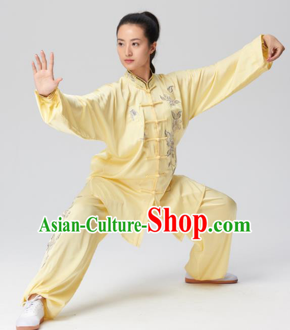 Chinese Traditional Tai Chi Yellow Costume Martial Arts Competition Embroidered Clothing for Women