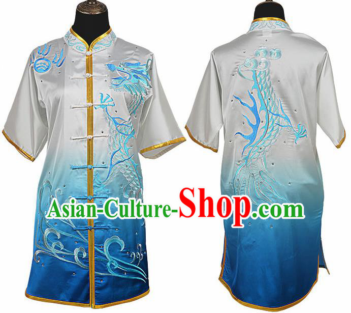 Chinese Traditional Kung Fu Embroidered Dragon Gradient Blue Costume Martial Arts Tai Ji Competition Clothing for Men