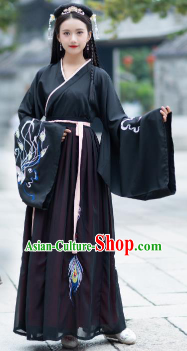 Traditional Chinese Jin Dynasty Palace Black Hanfu Dress Ancient Princess Embroidered Replica Costume for Women