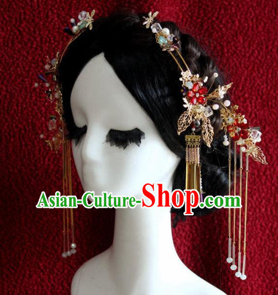 Top Grade Chinese Ancient Bride Wedding Tassel Step Shake Hairpins Traditional Hair Accessories Headdress for Women