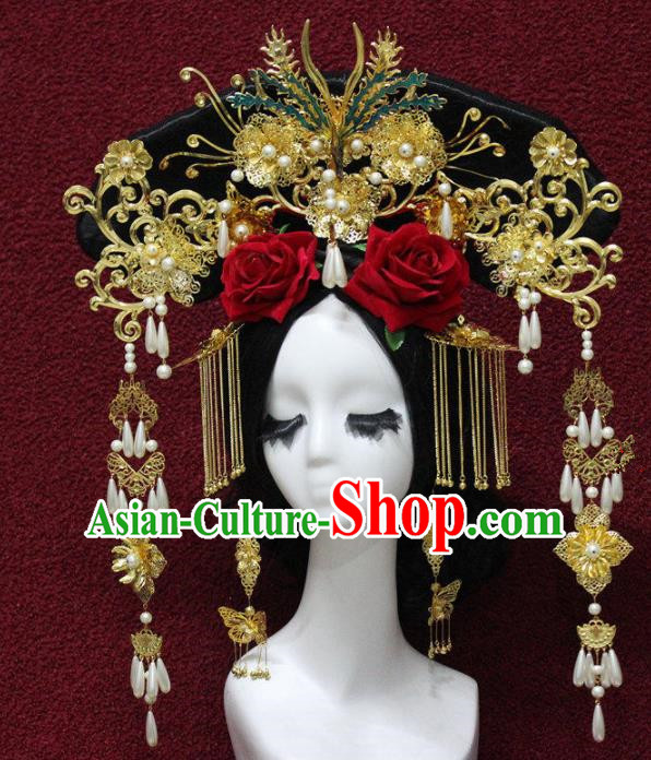 Top Grade Chinese Ancient Qing Dynasty Queen Phoenix Coronet Hairpins Traditional Hair Accessories Headdress for Women