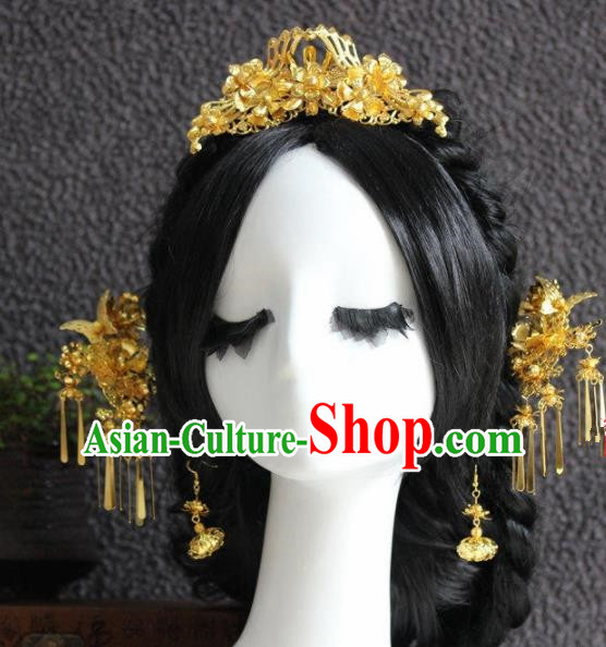 Handmade Chinese Ancient Bride Golden Hair Clips Traditional Hair Accessories Headdress for Women