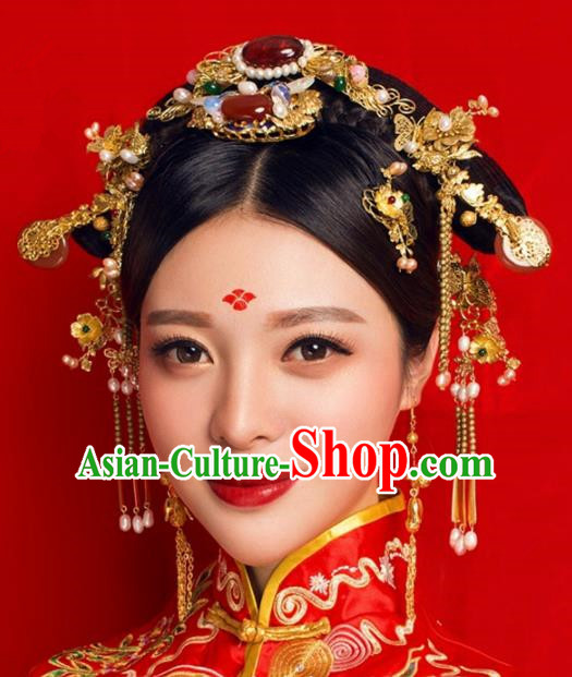 Handmade Chinese Ancient Princess Hairpins Agate Phoenix Coronet Traditional Hair Accessories Headdress for Women