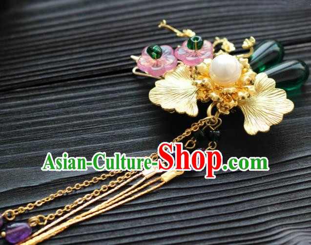 Handmade Chinese Ancient Princess Hairpins Tassel Hair Stick Traditional Hair Accessories Headdress for Women