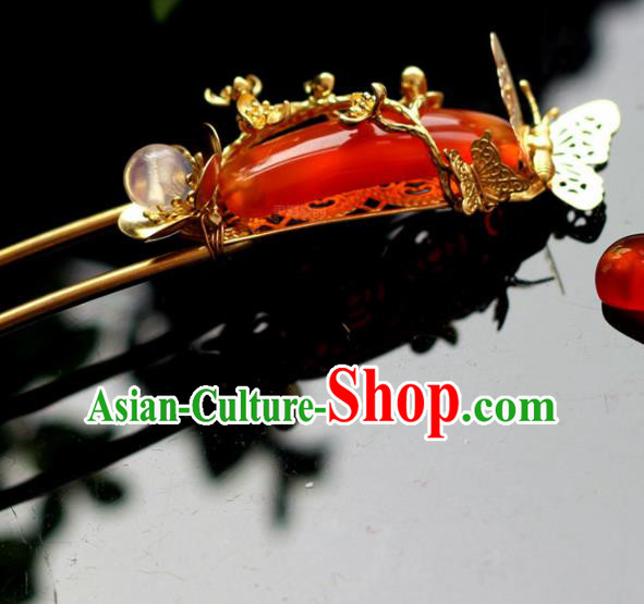 Handmade Chinese Ancient Princess Red Agate Hairpins Traditional Hair Accessories Headdress for Women
