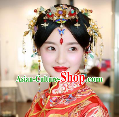Handmade Chinese Ancient Bride Blueing Hair Crown Tassel Hairpins Traditional Hair Accessories Headdress for Women
