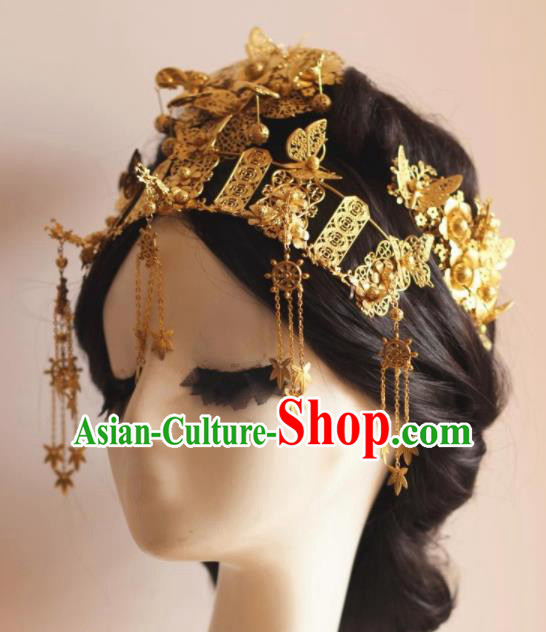 Handmade Chinese Ancient Bride Golden Phoenix Coronet Hairpins Traditional Hair Accessories Headdress for Women