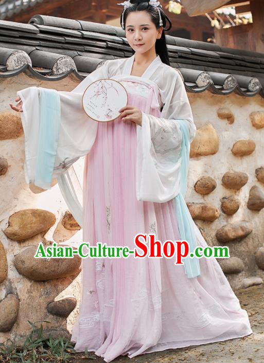 Chinese Traditional Tang Dynasty Historical Costume Ancient Aristocratic Lady Embroidered Hanfu Dress for Women