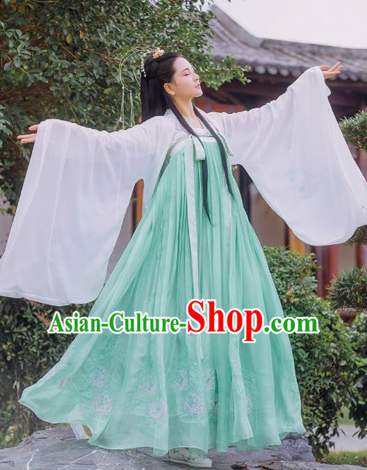 Chinese Traditional Tang Dynasty Palace Historical Costume Ancient Peri Princess Embroidered Hanfu Dress for Women